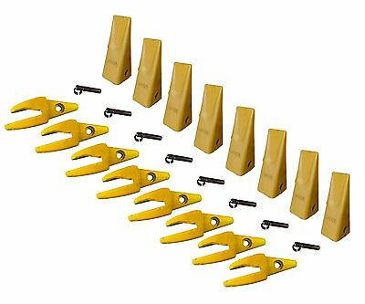 8 - Cat Style J200 Backhoe Bucket Shanks 1 Lip Dirt Teeth - 1u-3202 119-3204