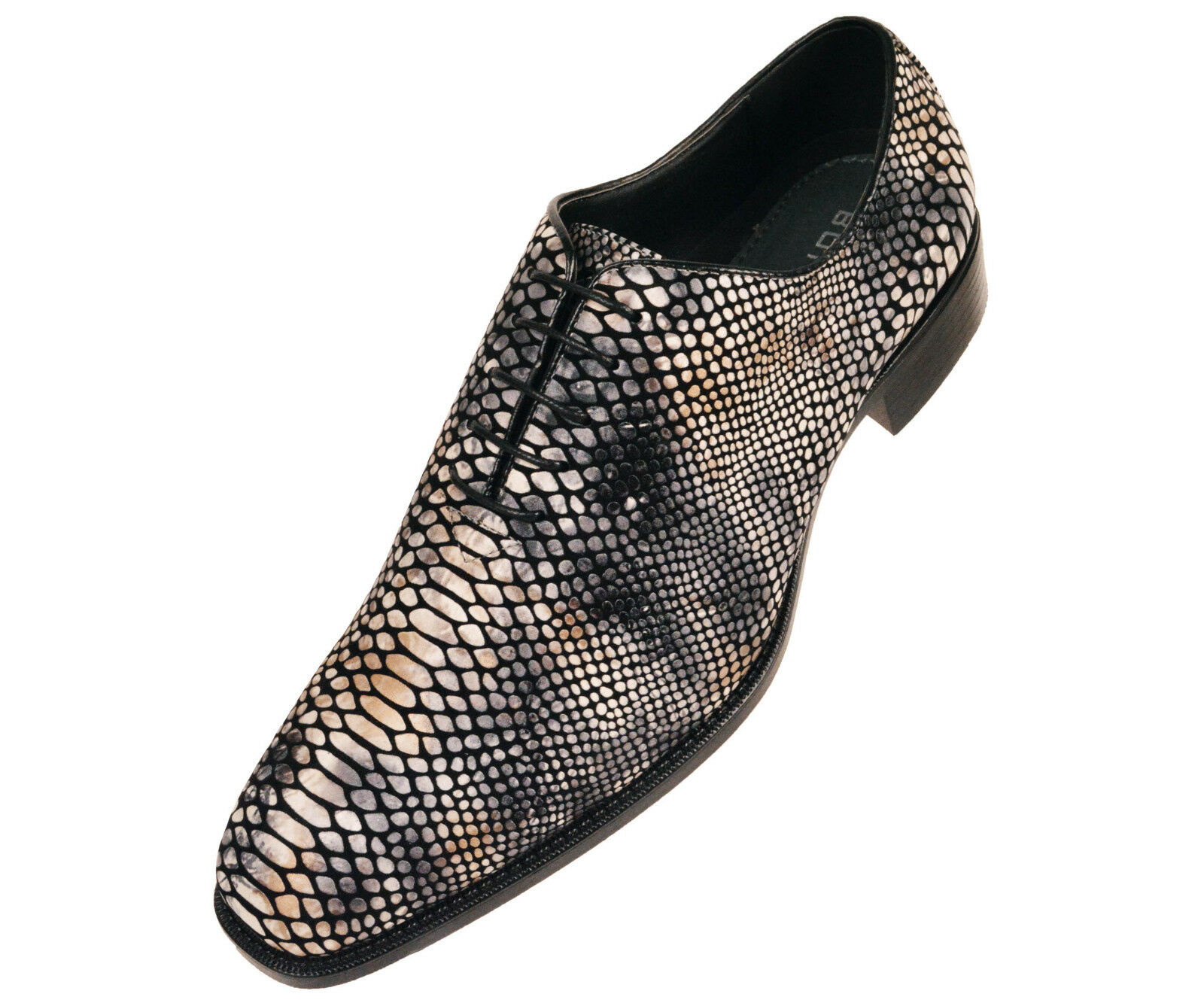 Seabrook-011 Bolano Mens Shaded Grey Exotic Faux Snake Skin Print Oxford