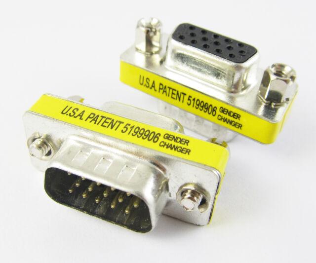 5pcs VGA HD15 Converter Connector 15pin 3 row Male to female Mini Gender Changer