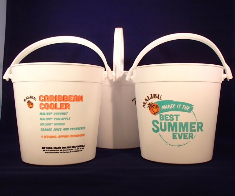 3 NEW MALIBU RUM PUNCH 32oz BUCKETS. Caribbean Cooler recipe. Runner buckets.