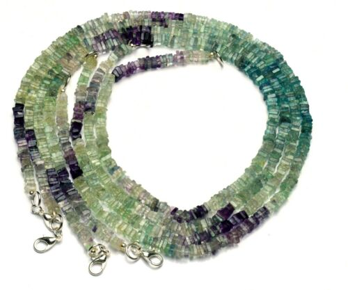 """Natural Gem Multi Fluorite 4MM Size Smooth Square Heishi Beads Necklace 17"""""""