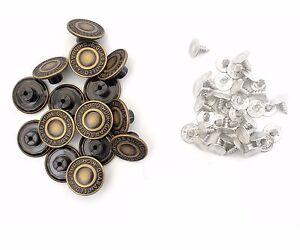10 x 17mm Jeans Buttons Denim Jackets Replacement Dark Bronze Press Hammer DIY