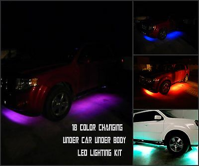 F-150 18pc 18 Color Changing Led Under Car Under Body Led Neon Glow Lighting Kit