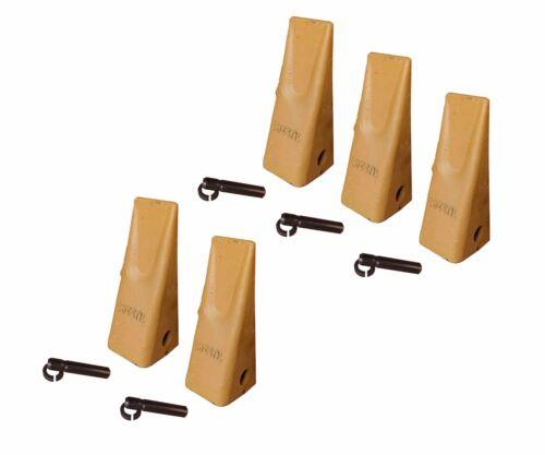 5 Caterpillar Style Backhoe Bucket Dirt Teeth w/ Pins & Retainers - 1U-3202
