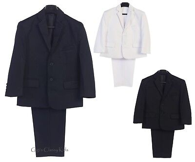 Boys Black Navy Blue White 2 Pc Suit Wedding First Communion Easter - Communion Suits Boys