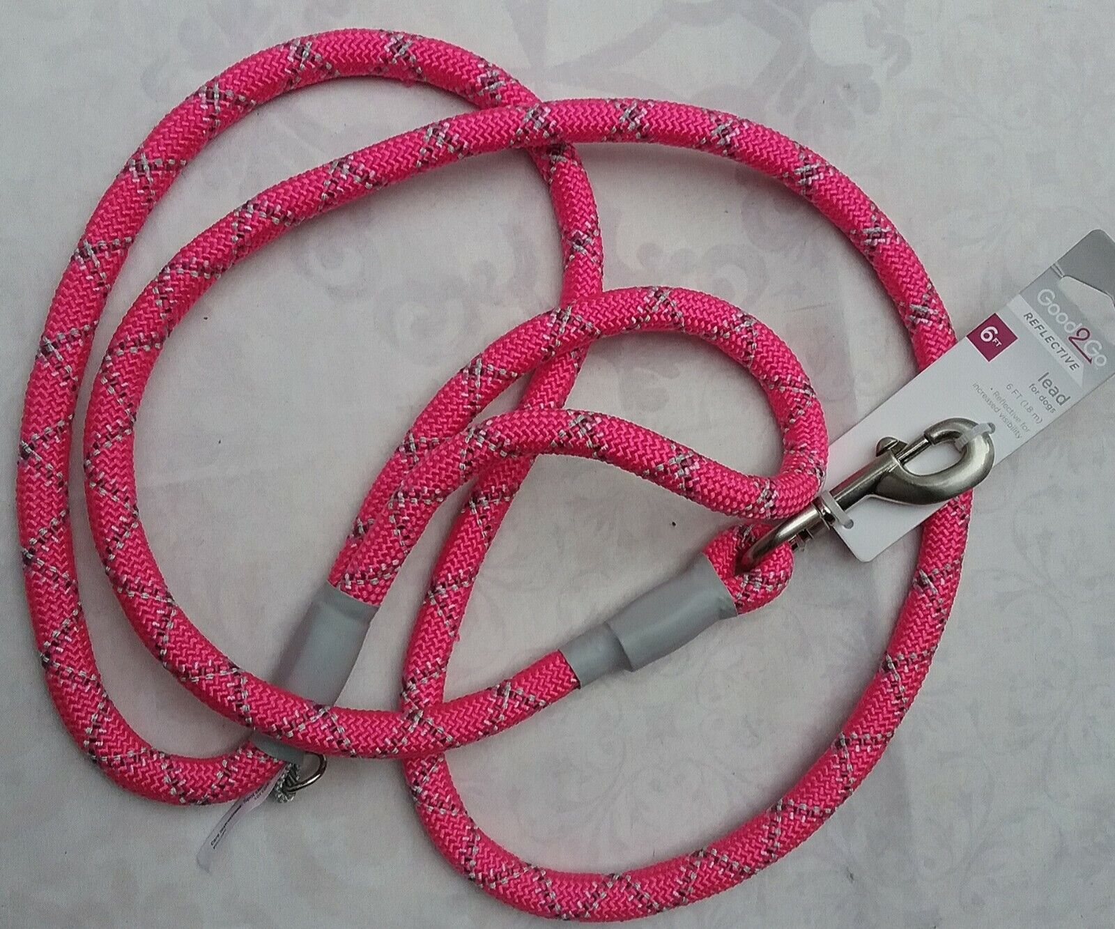 NEW GOOD TO GO STRONG REFLECTIVE ROPE LEASH, FLUORESCENT PINK, 6 LONG - $13.50