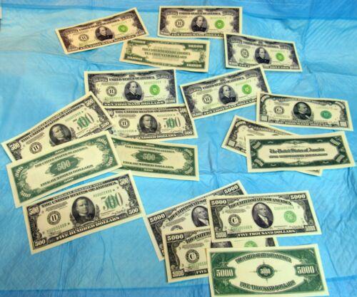 Reproduction  US $500 $1000 $5000 $10,000 Bills Series 1934, Set of 2 ea, Small