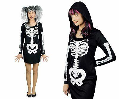 Kostüm Kleid mit Skelettdruck Skelettkleid Damen Skeleton Karneval Halloween ()
