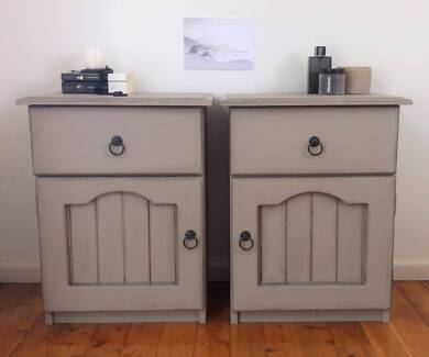 Bedside tables, side tables, upcycled, painted, taupe, grey
