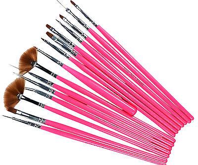 15pcs Pink Nail Art Gel Painting Drawing Dotting Pen Polish Brush Set L245