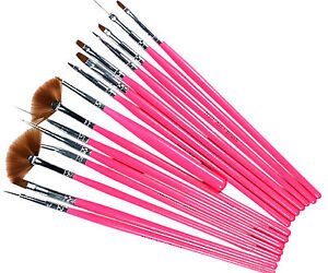 15pcs Pink Nail Art Gel Painting Drawing Dotting Pen Polish Brush Set L245