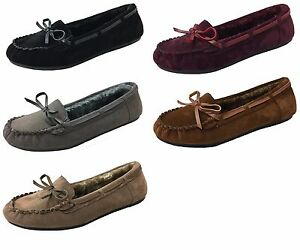Women-039-s-Moccasin-Fur-Lined-Indoor-Outdoor-Faux-Suede-Shoe-Slipper-Loafer-Slip-On