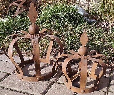 Metall Krone Rautenspitze Rostoptik 2 Größen Garten Deko Wohnambiente Rustikal ()
