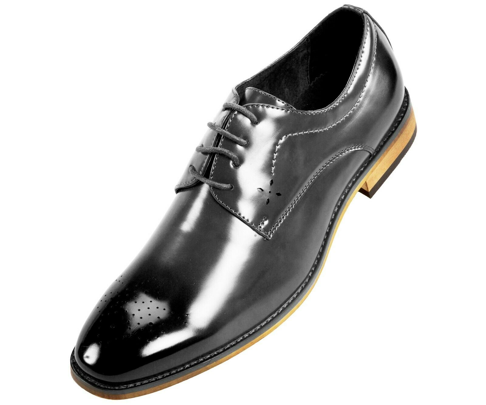 Amali Smooth Burnished Derby w/ Perforated Toe Men's Dress Shoe : Style Petfer