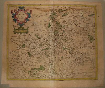 Landgrafschaft HESSEN. Originale Kupferstich Landkarte, MERCATOR / HONDIUS. 1627
