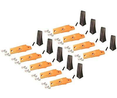 9 Bobcat Style Skid Steer Bucket Teeth X156 W Bolt-on Shanks Pins Hardware