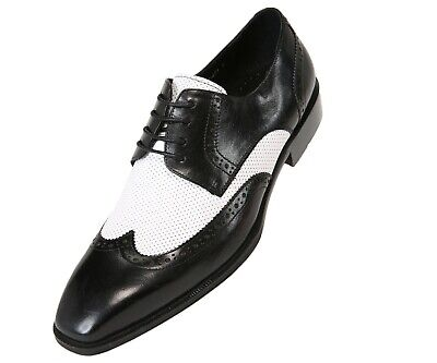 Asher Green Mens Two Tone Black & White Leather Wingtip Oxford : (Black & White Wingtips)