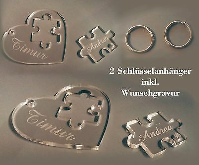 Schlüsselanhänger - Herz + Puzzleteil + Wunschnamen - Valentinstag Love