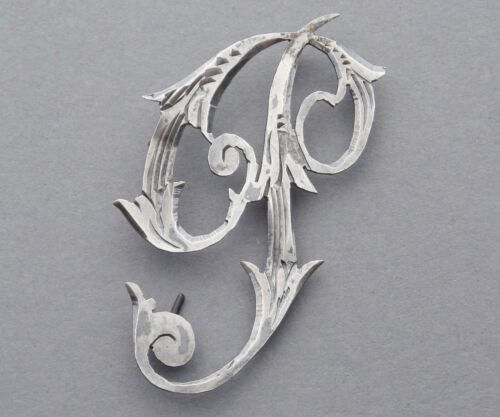 French, Antique Art Deco - Nouveau Sterling. For Monogram. Letter P. Handcrafted
