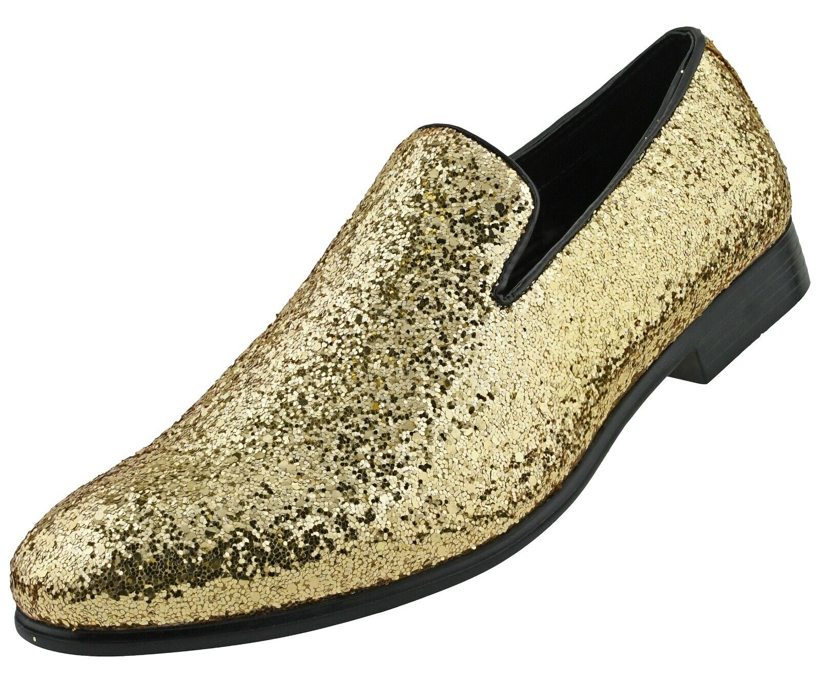 New Men/'s Gold Glitter Slip On Smoking Dress Shoes Tuxedo TUXXMAN ALL SIZES
