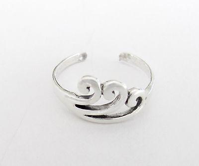 Sterling Silver 3 Waves dainty narrow band adjustable toe ring