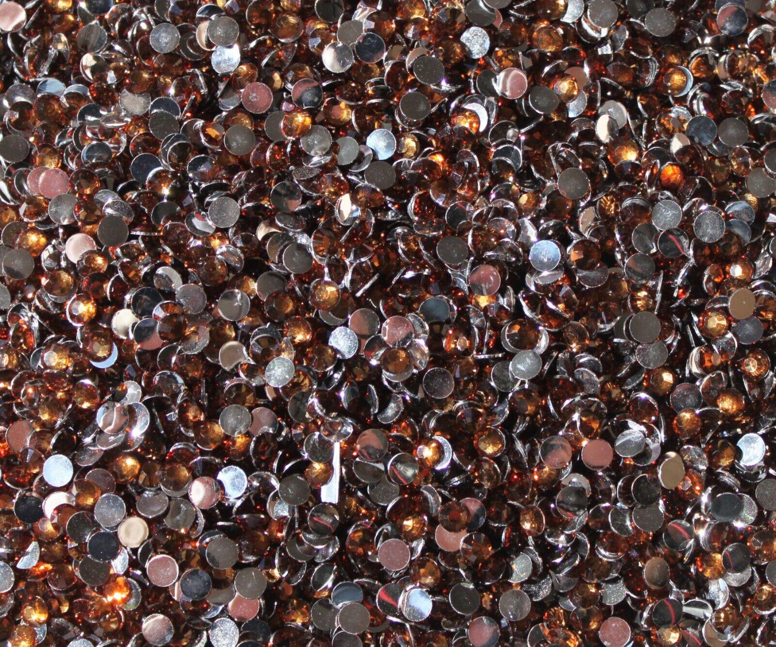 1000 Crystal Flat Back Resin Rhinestones Gems 60 colors, 2mm, 3mm, 4mm, 5mm, 6.5 COFFEE