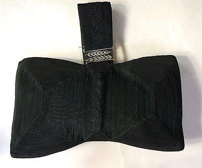 Genuine Corde Black Vintage Purse Lucite Decor Bowtie Shape Large