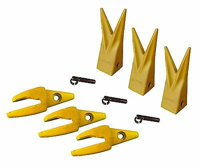 3 Cat J200 Style Backhoe Bucket Shanks 1 Lip Rock Teeth 1u-3202wtl 119-3204