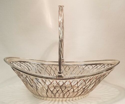Antique Sheffield Silver Reticulated Wire Cake Basket with Handle