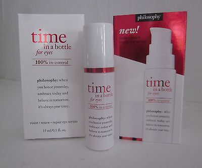 $65 NEW Philosophy TIME IN A BOTTLE 100% In-Control Daily Eye Serum AUTH 0.5oz