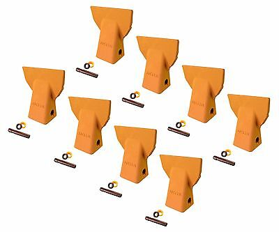 8 - Cat J200 Style Backhoe Bucket Flare Teeth W Pins Retainers- 109-9200