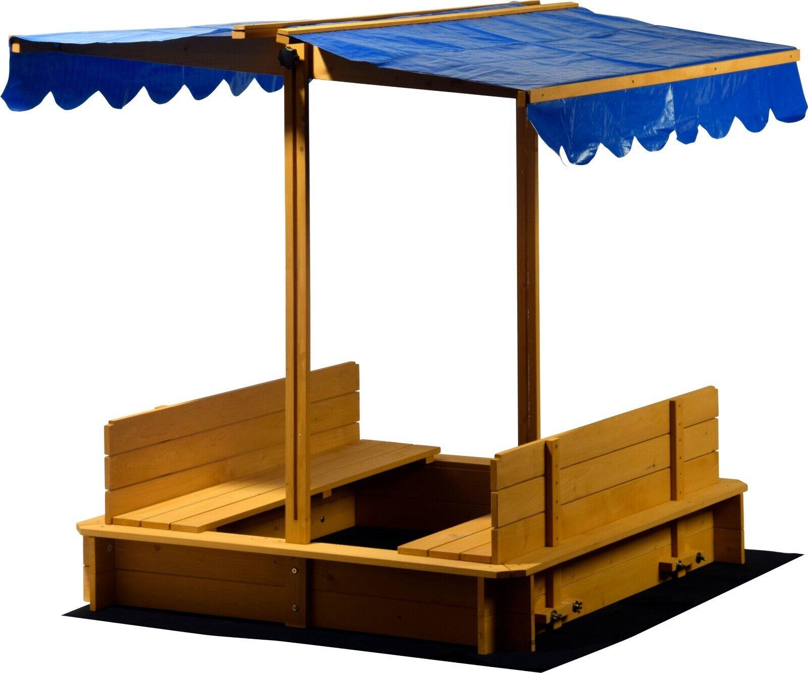 Großer Sandkasten mit Dach, Verstellbar Holz Sandkiste Sandbox Abdeckung Plane