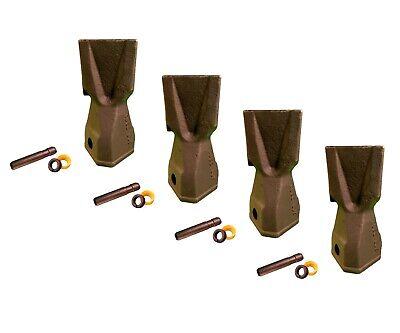 4 Backhoe Bucket Teeth 208-5235 - Penetration Tip W Pin Fits Cat Drs230