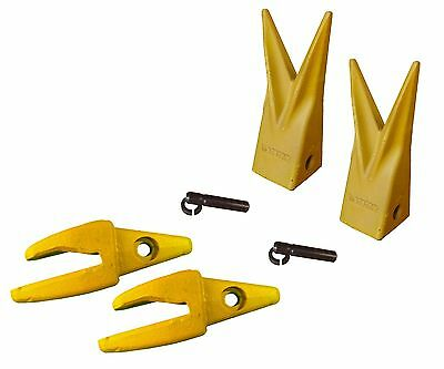 2 Cat J200 Style Backhoe Bucket Shanks 1 Lip Rock Teeth 1u-3202wtl 119-3204