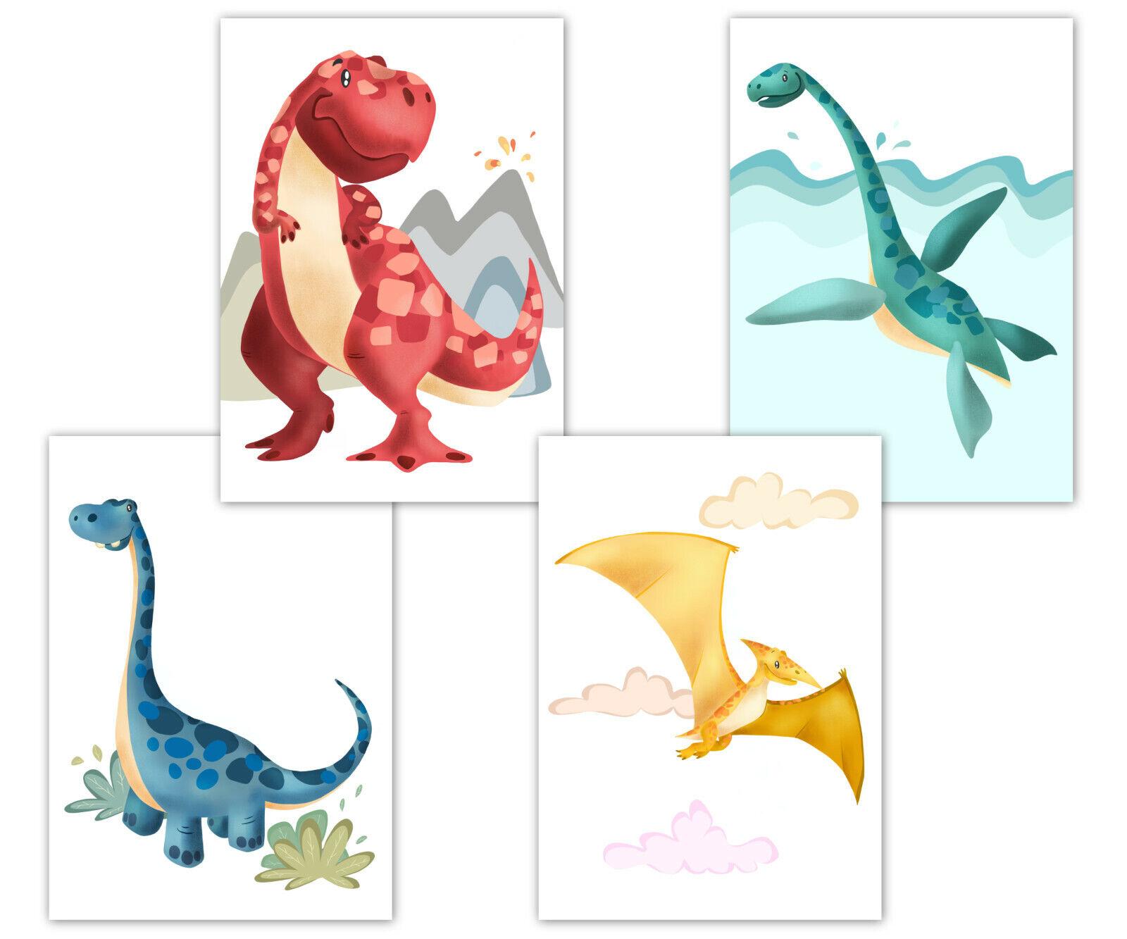 Dino Poster Kinderzimmer, Deko für Babyzimmer, Kinderposter Set, Dinosaurier