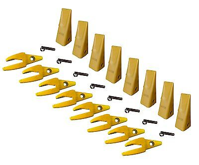 8 - Cat Style J200 Backhoe Bucket Shanks 34 Lip Dirt Teeth 1u-3202 119-3205