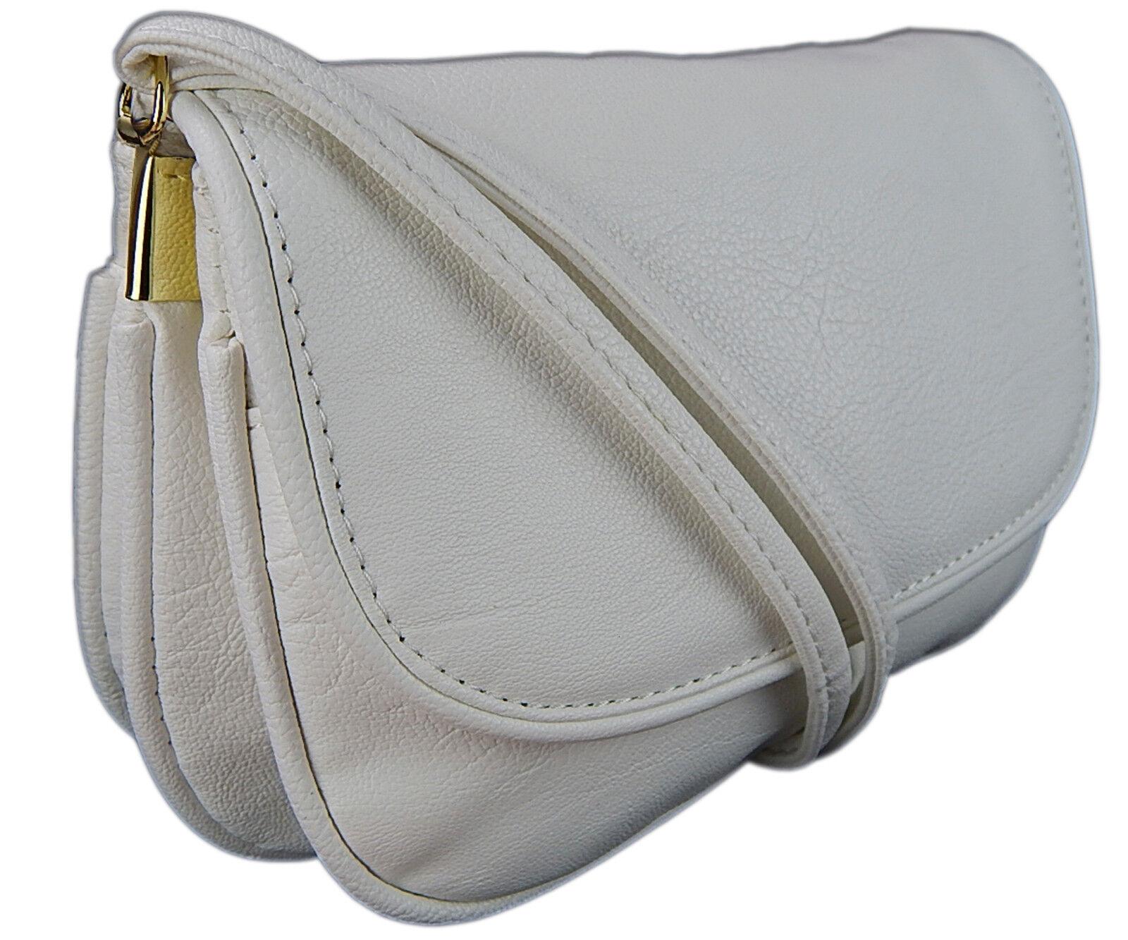 kleine Abendtasche Damentasche Exklusive Umhängetasche Premium Handtasche Weiß