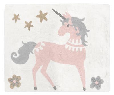 Floor Rug for Sweet Jojo Blush Pink Grey Gold Unicorn Toile Girls Bedding Sets ()