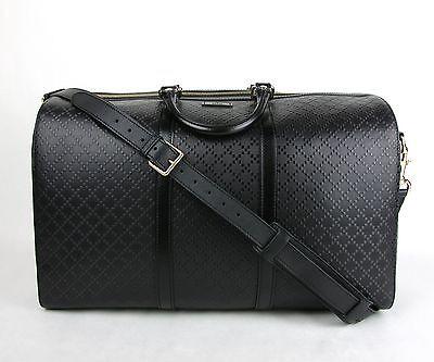 New Gucci Black Hilary Lux Diamante Leather Boston Duffle Travel Bag 387087 1000