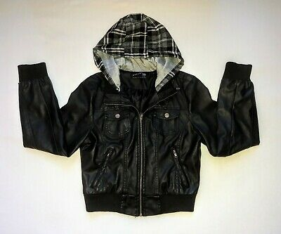 Womans Ashley Jacket Faux Leather Black Hooded Approx Size Medium  ()