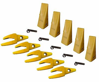 5 Cat Style J200 Backhoe Bucket Shanks 34 Lip Dirt Teeth 1u-3202 119-3205