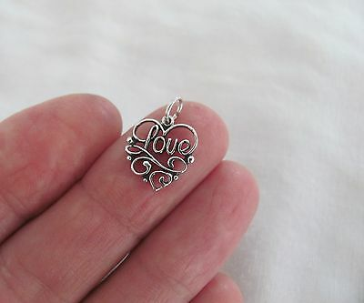 Sterling Silver filigree love heart small - Sterling Silver Heart Charms