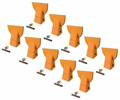 10 - Cat J200 Style Backhoe Bucket Flare Teeth W Pins Retainers- 109-9200