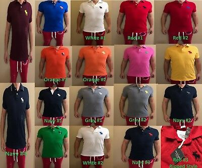 NWT Abercrombie Fitch A&F Hollister Mens Muscle Icon Polo Logo Tee T shirt SMXXL Abercrombie Fitch Mens Polo