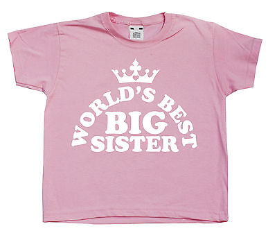 World's Best BIG Sister Pink Girls T-Shirt Cute Princess Crown Gift (World Best Cute Girl)