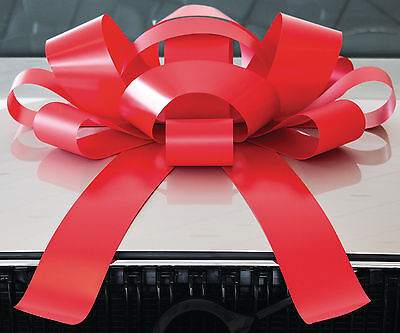 BIG Red Car Bow | Magnetic Back, Vinyl, No Scratch, Red | Large Bows for Cars - Big Bows For Cars