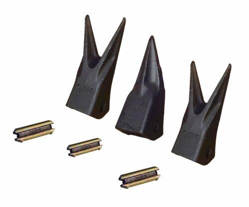 Set ot 3 - Backhoe / Mini Excavator Twin/Single Tiger Teeth w/ pins 23TL , 23WTL