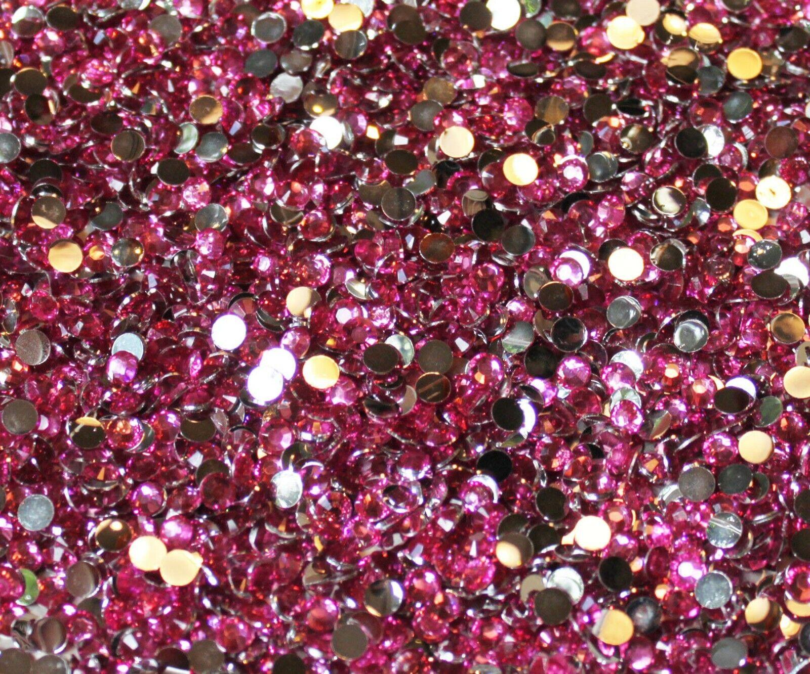 1000 Crystal Flat Back Resin Rhinestones Gems 60 colors, 2mm, 3mm, 4mm, 5mm, 6.5 LIGHT ROSE
