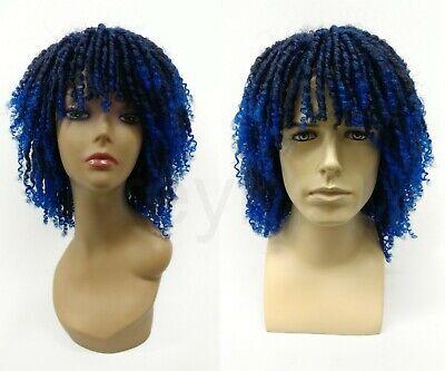 Dreadlocks w/ Bangs Wig Black and Dark Blue Green Unisex Synthetic 12
