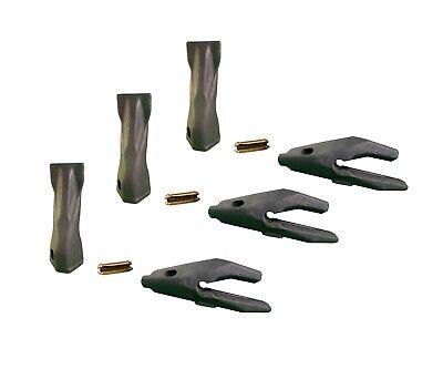 3 Backhoe Bucket Adapters34 Lip Chisel Teeth Pins Fits Cat Drs200 Series